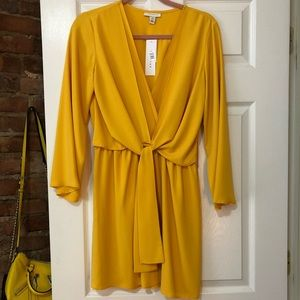 Canary Yellow 70's style Silk Topshop dress